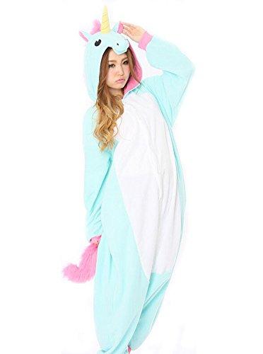 YARBAR-Tier-Onesies-Karneval-Halloween-Kostm-Nachtwsche-Cosplay-Pyjama-Erwachsene-Unisex-Kigurumi-Jumpsuit-Blaue-Einhorn-0