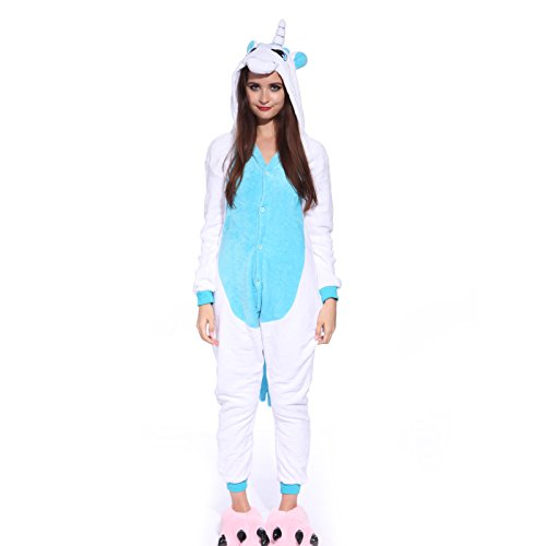 Erwachsene-DAMEN-HERREN-Einhorn-Kostuem-Kigurumi-Kostuem-Pyjama-Schlafanzug-Jumpsuit-Tierkostuem-Hausanzug-0