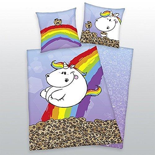 Bettwsche-Pummeleinhorn-glatt-Fotodruck-Regenbogen-Kekse-135-x-200-cm-Geschenk-NEU-WOW-All-In-One-Outlet-24-0