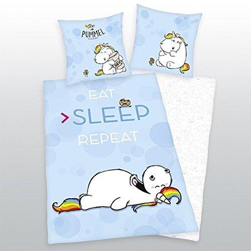 Bettwsche-Pummeleinhorn-glatt-Fotodruck-Sleep-Repeat-Kekse-135-x-200-cm-Geschenk-NEU-WOW-All-In-One-Outlet-24-0