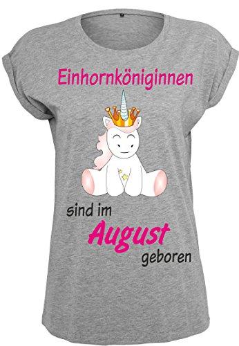 Damen-Ladies-Extended-Shoulder-Tee-T-Shirt-Sommershirt-Damenshirt-Unicorn-Queen-Einhorn-Einhornkniginnen-sind-geboren-grau-0