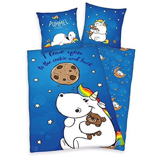 Das-Pummeleinhorn-Bettwsche-I-Love-you-to-the-cookie-and2-tlg-Set-80x80135x200cm-aus-Baumwolle-Bettbezug-blau-bedruckt-mit-Knopfverschluss-0