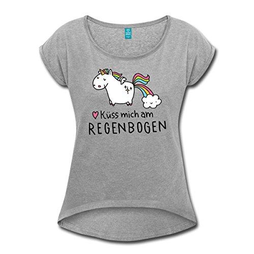 Einhorn-Kss-Mich-Am-Regenbogen-Frauen-T-Shirt-mit-gerollten-rmeln-von-Spreadshirt-0