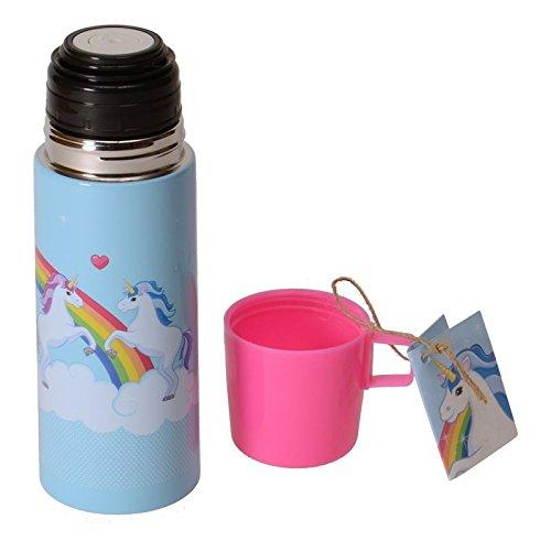 einhorn thermosflasche mit becher in hellblau und rosa. Black Bedroom Furniture Sets. Home Design Ideas