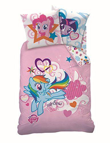 My-little-Pony-Mdchen-Kinder-Bettwsche-RAINBOW-SKY-Pferd-Einhorn-Regenbogen-Sterne-2-tlg-Gre-80x80-135x200-cm-100-Baumwolle-0-386x500