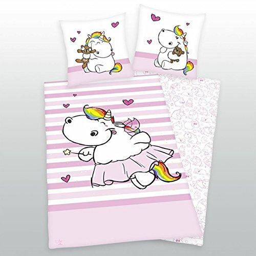 Pummeleinhorn-Bettwsche-rosa-135-x-200-80-x-80-cm-100-Baumwolle-0