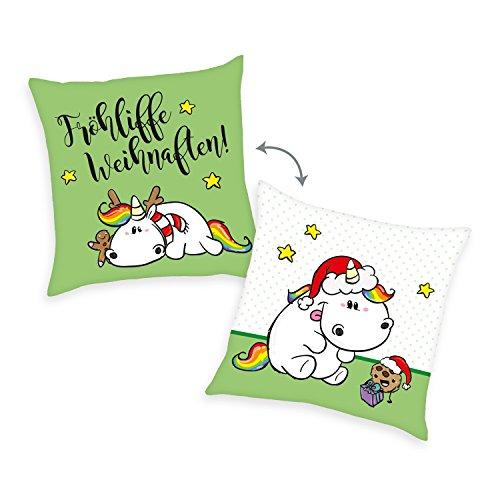 Pummeleinhorn-Kissen-Frhliche-Weihnachten-Wendekissen-mit-Wendemotiv-40-x-40-cm-0
