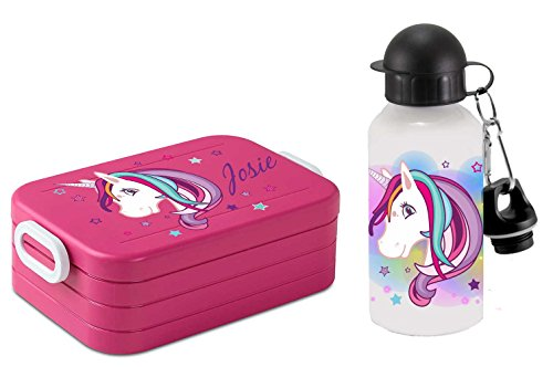SET-Lunchbox-Rosti-Mepal-Maxi-Take-A-Break-midi-Brotdose-Brotbox-und-Alu-Trinkflasche-mit-eigenem-Namen-Unicorn-Einhorn-beauty-pink-0