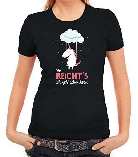 Unicorn-Damen-T-Shirt-mit-Einhorn-Mir-reichts-ich-geh-schaukeln-von-ShirtStreet-0